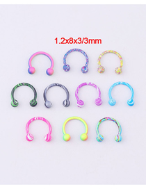 Fashion Spherical Horseshoe Ring (10 Pieces/set Of Mixed Colors) Water Grain Paint Ball C-shaped Horseshoe Stainless Steel Lip Ring