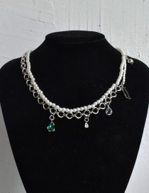 Fashion Green Double-layer Pearl Stitching Necklace