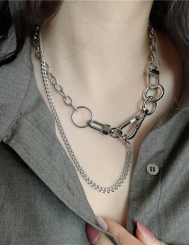 Fashion Double Necklace Titanium Steel Thick Chain Double Layered Necklace