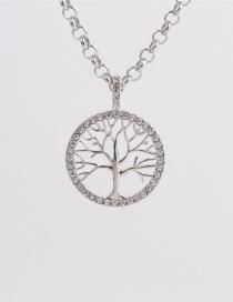 Fashion Tree Of Life 40cm Chain Titanium Steel Rhinestone Cross Tree Of Life Necklace