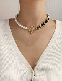 Fashion Black Chain Pearl Stitching Ot Buckle Necklace