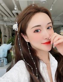 Fashion White Love Asymmetrical Pearl Earrings And Hair Clip Integrated