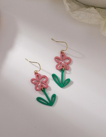 Fashion Red Pink Flower Paint Earrings