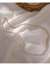 Fashion B Necklace Square Diamond Pearl Double Necklace