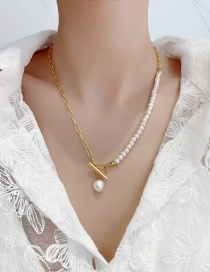 Fashion Gold Color Metal Freshwater Pearl Ot Buckle Necklace