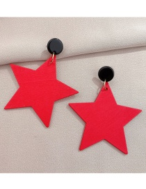 Fashion Red Five-pointed Star Wooden Earrings