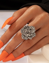 Fashion Silver Color Rose Ring