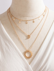 Fashion Gold Color Star Moon Sun Multilayer Necklace