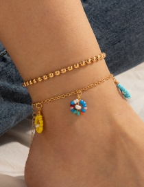 Fashion Color Rice Beads Colorful Flower Anklet