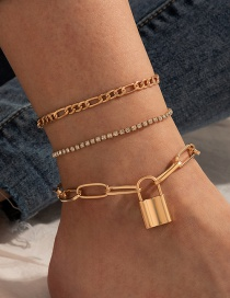 Fashion Gold Color Full Rhinestone Lock Thick Chain Anklet Set