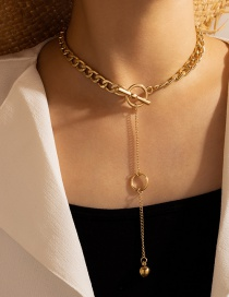 Fashion Gold Color Thick Chain Metal One Word Buckle Necklace
