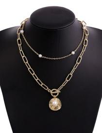 Fashion Gold Color Multi-layer Chain Pearl Necklace
