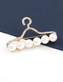 Fashion Hanger Alloy Hanger Brooch With Diamonds And Pearls