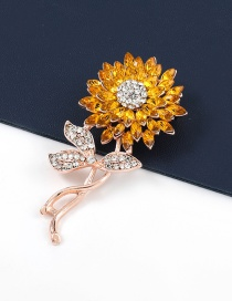 Fashion Flowers Alloy Diamond-studded Sunflower Flower Brooch