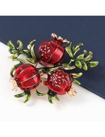 Fashion Pomegranate Alloy Dripping Pomegranate Brooch
