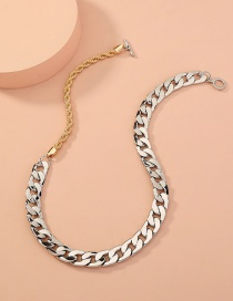 Fashion Silver Color Thick Chain Two-color Stitching Ot Buckle Necklace