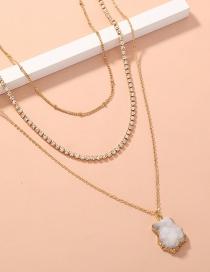 Fashion White Rhinestone Claw Chain Multilayer Necklace