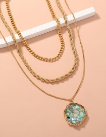 Fashion Gold Color Metal Twist Chain Multi-layer Shell Round Necklace