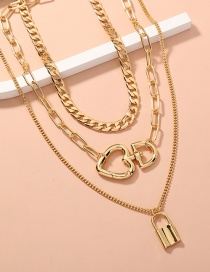 Fashion Gold Color Heart-shaped Buckle Lock-shaped Detachable Multi-layered Necklace