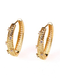 Fashion Gold Color Copper Plated Real Gold Zircon Earrings