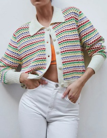 Fashion Color Striped Knitted Jacket