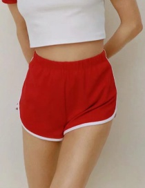 Fashion Red Contrast Trim Shorts