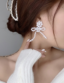 Fashion Pearl Bow Knot Clear Crystal Pearl Earrings