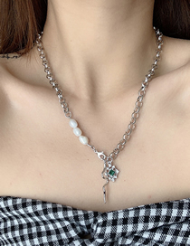 Fashion Silver Color Irregular Diamond Pearl Snake Tail Necklace