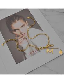 Fashion Gold Color M Letter Titanium Steel Necklace
