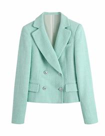 Fashion Green Plain Textured Short Double-breasted Blazer