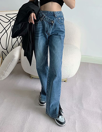 Fashion Blue Irregular Washed Jeans With Split Ends