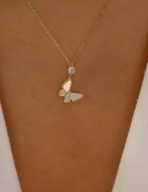 Fashion Gold Color Butterfly And Diamond Geometric Necklace