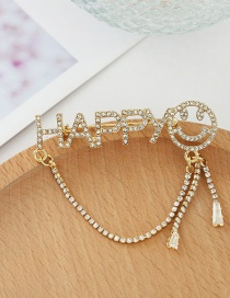 Fashion Gold Color Happy Letter Chain Smiley Brooch