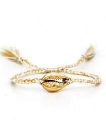 Fashion Gold Color Shell Rice Bead Woven Plum Blossom Beaded Bracelet