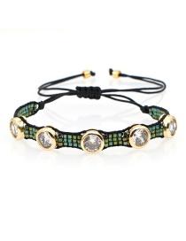 Fashion Green Diamond Studded Beaded Rice Bead Woven Demon Eye Bracelet