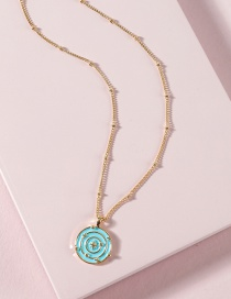 Fashion Blue Oil Drop Colored Compass Star Necklace