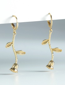 Fashion Gold Color Gold-plated Rose Earrings