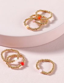 Fashion Red Rice Beads Glass Beaded Ring Set