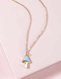 Fashion Blue Dripping Oil Colored Mushroom Necklace