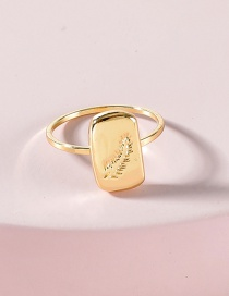 Fashion Gold Color Feather Engraved Metal Alloy Ring