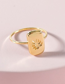Fashion Gold Color Monstera Carved Metal Alloy Ring