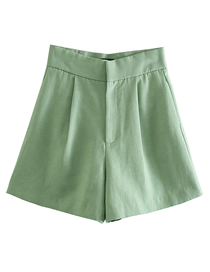 Fashion Green Solid Color Linen A-line Shorts