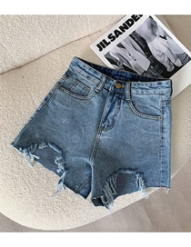 Fashion Blue Raw Denim Shorts