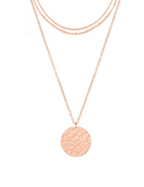Fashion Rose Gold Stainless Steel Round Brand Multi-layer Chain Necklace