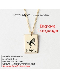 Fashion Gold Color 12# Lettering Butterfly Letter Square Glossy Titanium Steel Necklace