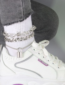 Fashion Silver Color Lock Shaped Bow Anklet