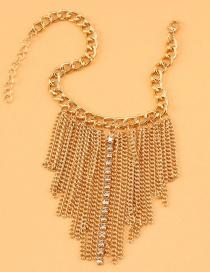 Fashion Gold Color 2 Diamond Alloy Tassel Anklet