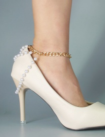 Fashion Gold Color Pearl Multi-layer Tassel Anklet