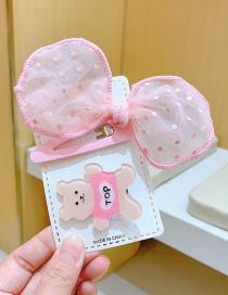 Fashion Two-piece Bear Hairpin Children's Polka Dot Net Yarn Small Animal Hairpin