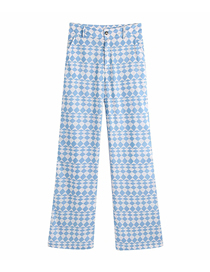 Fashion Blue Geometric Pattern Flower Print Straight-leg Trousers